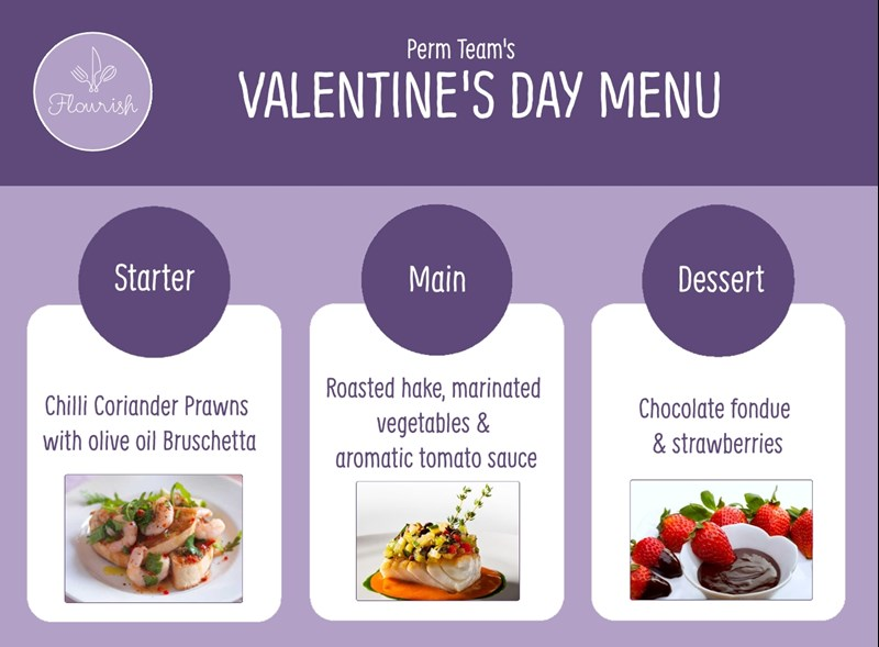 Perm Team Valentines Day Menu